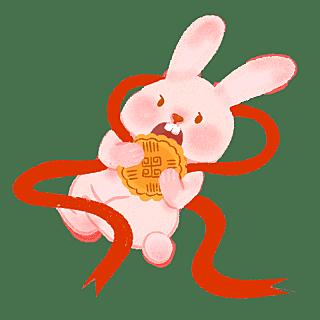 手绘风-中秋节贴纸-兔子