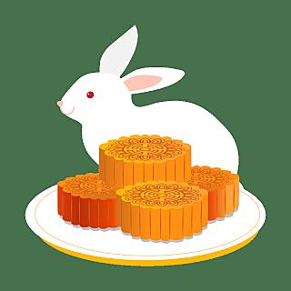 手绘-秋天元素贴纸-月饼