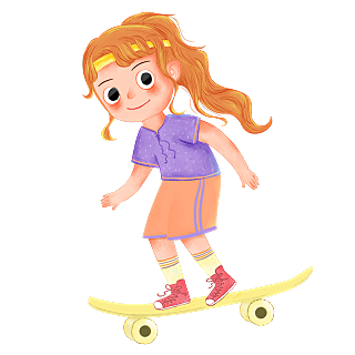 卡通彩铅风-滑板人物