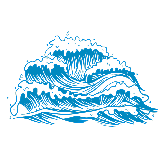 手绘-矢量风自然元素海浪贴纸6