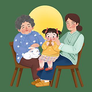 手绘-中秋节团圆人物场景插画4