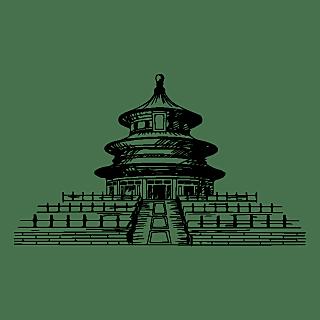 SVG-建筑元素素描贴纸-古建筑