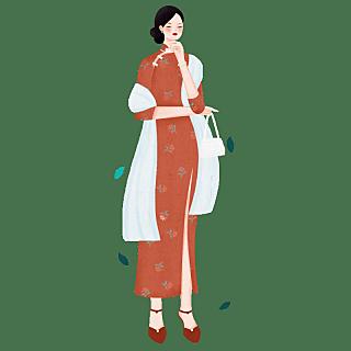 中国风-人物插画-民国女性