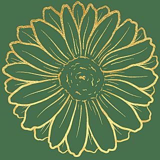 手绘-奢华金属花朵贴纸-大丽花