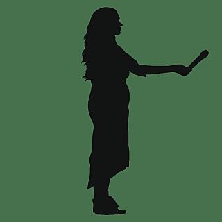 SVG-采访人物剪影贴纸-采访