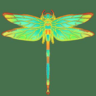 国潮风-昆虫元素贴纸-蜻蜓
