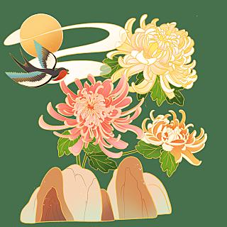 中国风植物花卉贴纸-菊花