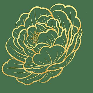 手绘-奢华金属花朵贴纸-山茶花
