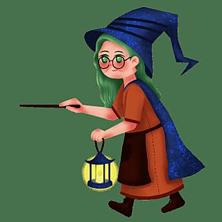 手绘-魔法人物元素贴纸1