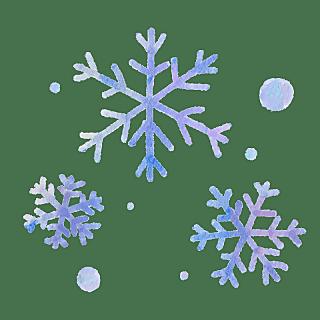 手绘-水彩天气元素贴纸-雪花