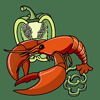 小龙虾元素贴纸-国潮手绘