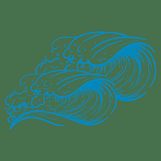 手绘-矢量风自然元素海浪贴纸4