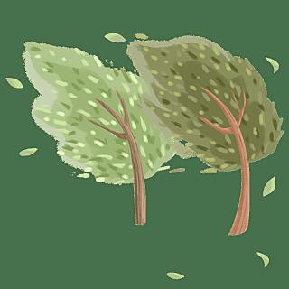 手绘-台风天气人物插画贴纸-树