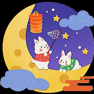 手绘-中秋节兔子拼贴元素6