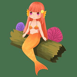 手绘-童话美人鱼元素人物插画3