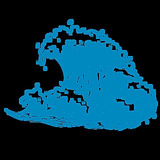 手绘-矢量风自然元素海浪贴纸3