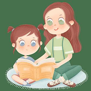 手绘-姐妹玩耍人物场景-看书