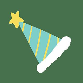 手绘风-生日元素贴纸-生日帽