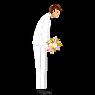 手绘风-婚礼人物元素贴纸-新郎