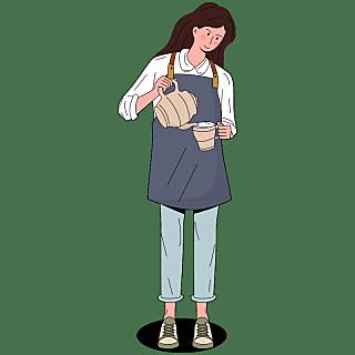 手绘-服务行业人物贴纸-SVG6