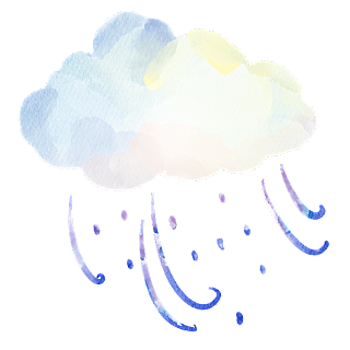 手绘-水彩天气元素贴纸-刮风下雨