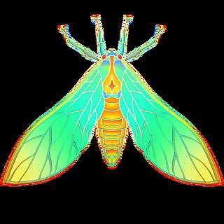 国潮风-昆虫元素贴纸-昆虫