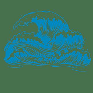 手绘-矢量风自然元素海浪贴纸1