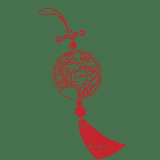 手绘-中国结元素常规贴纸-矢量9