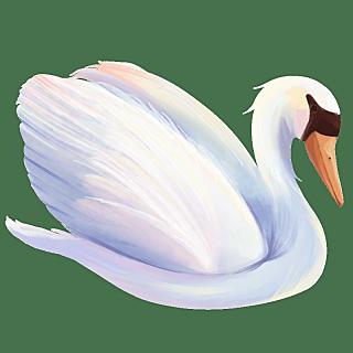 手绘-水彩天鹅动物元素贴纸1