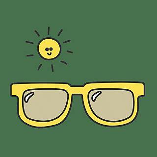 手绘-流行色文字贴纸SVG-墨镜