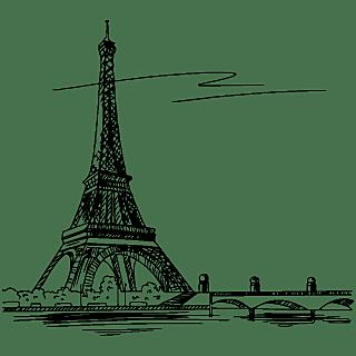 SVG-建筑元素素描贴纸-巴黎铁塔