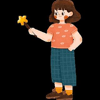 手绘-可爱少女元素人物插画贴纸3
