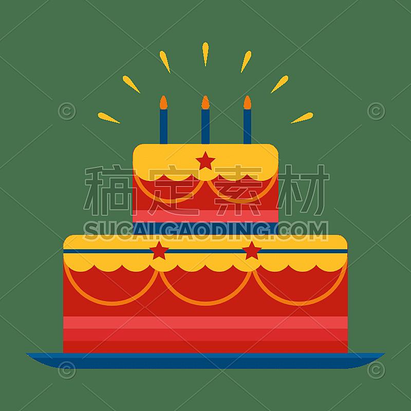 扁平-国庆氛围元素-蛋糕