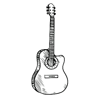 乐器元素素描贴纸-SVG-吉他