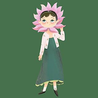 手绘-卡通花卉精灵魔法人物贴纸1