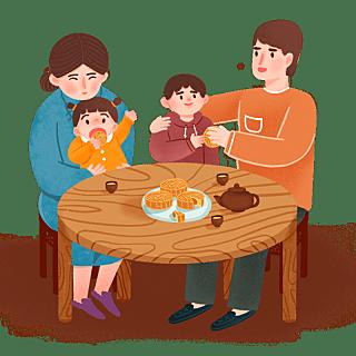 手绘风-中秋节贴纸-家人
