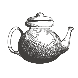 手绘素描-茶文化元素-茶壶