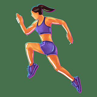手绘-科技故障风运动人物-跑步