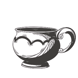 手绘素描-茶文化元素-茶杯
