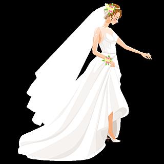 手绘风-婚礼人物元素贴纸-新娘