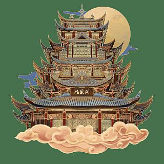 金边国潮风-城市建筑地标主题