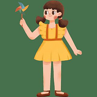 手绘-可爱少女元素人物插画贴纸7