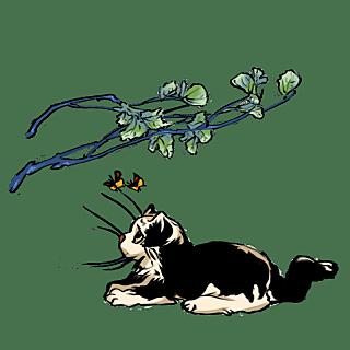 手绘-中国风水墨风动物贴纸-猫