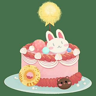 手绘风-生日元素-蛋糕