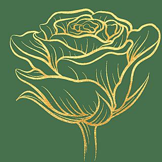 手绘-奢华金属花朵贴纸-玫瑰