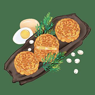 水彩画-中秋节月饼贴纸元素-月饼