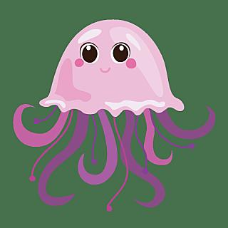 手绘-卡通风海洋动物元素-水母