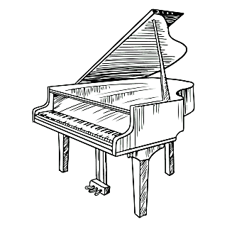 乐器元素素描贴纸-SVG-钢琴