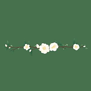 卡通风树叶花朵文章分割线贴纸6