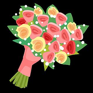 手绘风-婚礼人物元素贴纸-花束